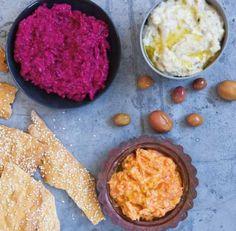 maeve o'meara dip recipes - lebanese hummus bi tahine, Turkish carrot dip & Turkish beetroot dip.