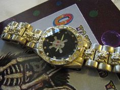 Large Man's Skull And Crossbones Watch by janissupplies on Etsy