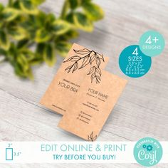 Printable Kraft Business Card Templates for Square & Classic Cards - Editable Botanical Business Card Template - Custom Floral Calling Card Thank You Card Template, Thank You Cards, Packaging Stickers, Personalized Ribbon, Label Templates, Custom Fonts, Calling Cards, Corporate Identity, Label Design