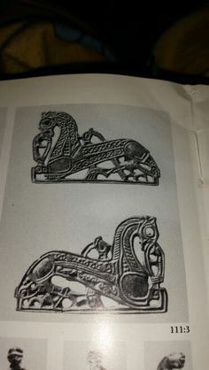 Birka-Two animal-shaped pendants or mounts. From Viking Artefacts, James Graham-Campbell.