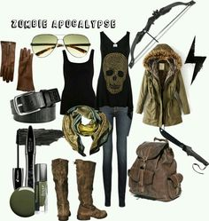 """""""Z-Day"""" Fashion Conscious in the event of an apocalypse of the Walking Dead variety. And if you wanna look like Daryl Dixon then here you go. Zombie Apocalypse Outfit, Apocalypse Fashion, Post Apocalypse, Apocalypse Survival, Walking Dead Clothes, Punk Fashion, Fashion Outfits, Fashion Wear, Winter Outfits"""