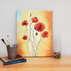 Red poppy art acrylic painting Original flower by hjmArtGallery, $175.00