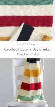 Etsy PDF Pattern - Crochet Hudson's Bay Blanket