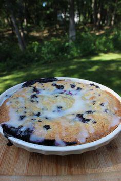 Farmhouse Deep Dish Swedish Blueberry Pie with Lemon Glaze