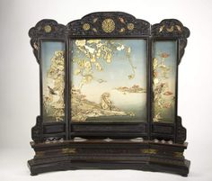 Chinese Imperial Zitan and Ivory Table Screen - Zitan Framed three section table screen, a monkey seated by the river, and birds and bats fly around the lotus, gourds and grapes, ivory and coral carving decorated. Well carved on the top and bottom frame, inlaid with ivory and coral. wd. 31, ht. 29 in.