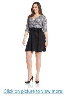 314fbe2db65f Star Vixen Women's Plus-Size Print Top Solid Skirt Wrap Dress, Black/White,  1X at Amazon Women's Clothing store:
