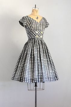 vintage 1950s dress 50s check dress 1950s by PickledVintage