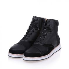 570g black leather neoprene high top sneakers