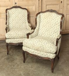 Pair Antique Louis XV Bergere Armchairs - Inessa Stewart's Antiques