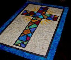 PDF - Stained Glass Cross / Christian Cross / Cross Quilt Pattern - size: x Barn Quilt Patterns, Cross Patterns, Bonnie Hunter, Nine Patch, Quilt Festival, Quilting Projects, Quilting Designs, Quilting Ideas, Art Quilting