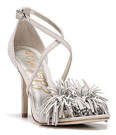 Sam Edelman Aisha Fringe Toe Strap Cross Ankle Strap Sandal suede grey, black 3.75h sz7.5 130.00 3/16