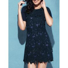 Trendy Short Sleeve Scoop Neck Lace Spliced Zipper Design Women's Dress #CLICK! #clothing, #shoes, #jewelry, #women, #men, #hats, #watches