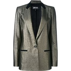 Just Cavalli metallic blazer ($621) ❤ liked on Polyvore featuring outerwear, jackets, blazers, grey, grey blazer jacket, gray jacket, just cavalli jacket, grey jacket and just cavalli blazer