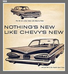 ~ 1959 Chevy Impalas ~ Drove one of these, red with white on top all thru high school. I was the envy of many.... oh dear.