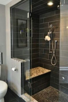 Contemporary 3/4 Bathroom with slate tile floors, Frameless Shower Doors By Dulles Glass and Mirror, Rain shower