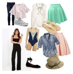 """""""Getaway"""" by molly-b-32 ❤ liked on Polyvore featuring LULUS, Ninety Six Degrees, Tabitha Simmons, LE3NO, J.Crew, Rumour London, Hollister Co., Levi's, Converse and Justine Hats"""