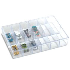 """Use this for Barbie accessories! The Container Store > 13-1/8"""" x 9"""" Clear 12-Compartment Box"""