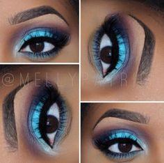 Blue eyeshadow look for brown eyes