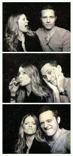 I love that they are really married *Kevin Ryan and Jenny* Oh, the adorableness of these two. Juliana and Seamus Dever Castle Tv Series, Castle Tv Shows, Seamus Dever, Castle 2009, Richard Castle, Castle Beckett, Adventure Movies, Cute Couple Pictures, Stana Katic