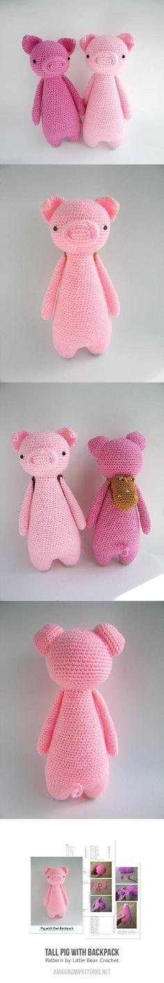 Tall Pig With Backpack Amigurumi Pattern Gaaf!! Jammer dat ik dit niet zelf kan.