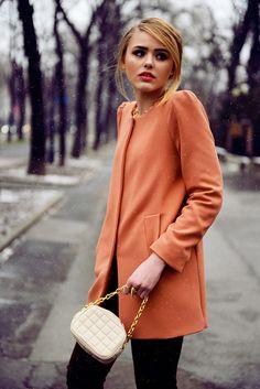 Zara coat, BCBG Maxazria bag, Mango necklace
