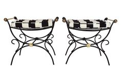 Wrought Iron Regency-Style Benches, Pair
