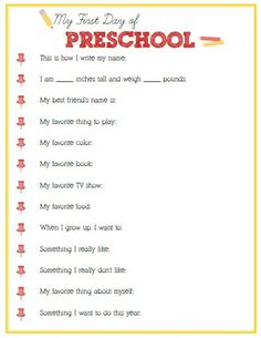First Day of Preschool Interview – Click image or link below to download