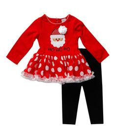 This Red Santa Tunic & Black Leggings - Infant, Toddler & Girls is perfect! #zulilyfinds