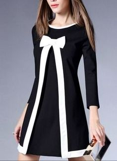 Round Neck Bowknot Slit Color Block Shift Dress Fashion girls, party dresses long dress for short Women, casual summer outfit ideas, party dresses Fashion Trends, Latest Fashion # Trendy Dresses, Elegant Dresses, Casual Dresses, Dresses For Work, Floryday Dresses, Party Dresses, Cotton Dresses, Dresses Online, Evening Dresses