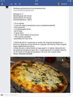 Korslose quiche. Sampioen en broccoli. Kos, Quiche Recipes, Vegetable Recipes, Quiches, Ma Baker, Banting Recipes, Good Food, Yummy Food, South African Recipes