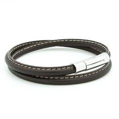 Bracelet cuir double tour noir personnalisé