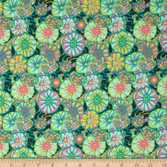 Amy Butler True Colors Daisy Shine Citrus from @fabricdotcom  Designed by Amy Butler for Westminster/Rowan, this cotton print is perfect for quilting, apparel and home decor accents.  Colors include charcoal, bright yellow, teal, aqua, coral and pink.