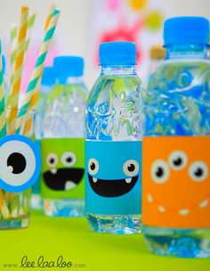 Fun way to dress up a water bottle, especially for kids!