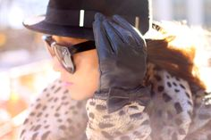 leopard and leather gloves