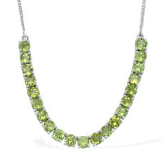 Liquidation Channel: Hebei Peridot Necklace (18 in) in Platinum Overlay Sterling Silver (Nickel Free)