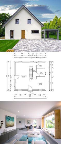 Einfamilienhaus Architektur mit Klinker Fassade, Giebel  Satteldach