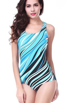 02557d6bad CharmLeaks Women s Pro One Piece Athletic Sports Swimsuit Bright Blue  Pattern. New Pro athletic fabric