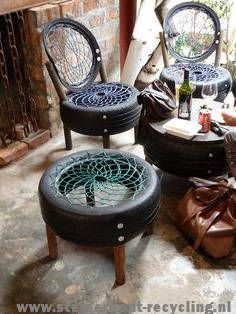 Perfect Do and Don't You Must Know to Buy Garden Furniture Online - Modern Garden Furniture Design, Tire Furniture, Rattan Garden Furniture, Repurposed Furniture, Furniture Ideas, Homemade Furniture, Garden Design, Tyres Recycle, Recycled Tires