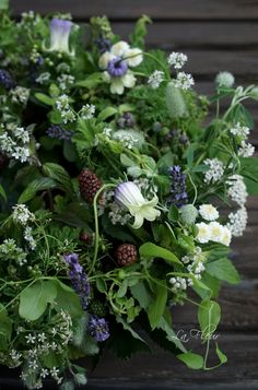 herb, berry, flower wreath