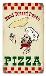 This Pizza Hand Tossed Italian Restaurant Metal Sign is the perfect vintage wall decor for any restaurant, kitchen, or Italian chef! Big Pizza, Pizza Art, I Love Pizza, Pizza Pizza, Vintage Signs, Vintage Ads, Vintage Posters, Vintage Room, Pizza Box Design