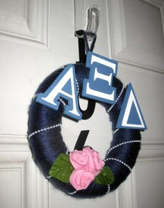 Alpha Xi Wreath! Our house neeeeeeds this since we dont have letters on it!