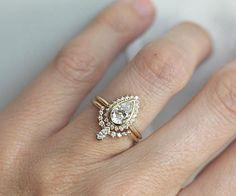 Pear Shape Diamond Ring With Diamond Crown Band Halo Pear #weddingring