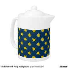 Gold Star with Navy Background Tea Pot This design is available on many products! Click the 'available on' tab near the product description to see them all! Thanks for looking!  @zazzle #art #star #pattern #shop #home #decor #kitchen #dining #apartment #decorate #accessory #accessories #fashion #style #women #men #shopping #buy #sale #gift #idea #fun #sweet #cool #neat #modern #chic #black #blue #orange #grey #purple #navy