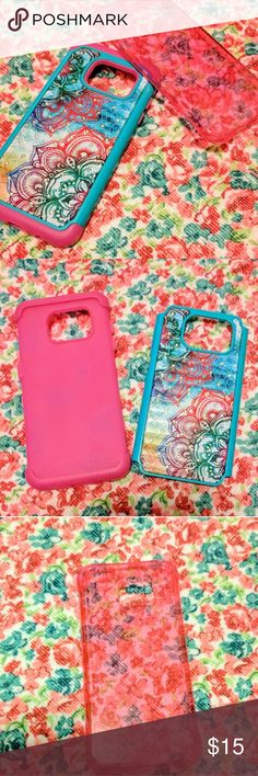 2 Samsung Galaxy Edge 7 phone cases One floral with gems 2 piece & one translucent pink Accessories Phone Cases