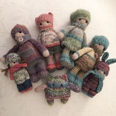 """🌷Six of my new kids🌷I call them """"cool kids"""" because they were inspired by 🌷 (All six of theses kids have been sold to… Knitted Bunnies, Knitted Animals, Knitted Dolls, Knitting Patterns Free, Free Knitting, Baby Knitting, Knitted Christmas Stockings, Christmas Knitting, Crochet Gifts"""