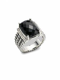 David Yurman Black Onyx, Diamond & Sterling Silver Ring