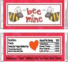 Personalized Valentine's Day Hershey Candy Bar Wrapper Party Favor - Bee Mine