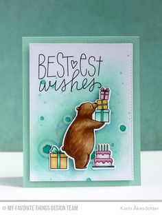 Handmade card from Karin Åkesdotter featuring the Birdie Brown Birthday Bears stamp set and DIe-namics.