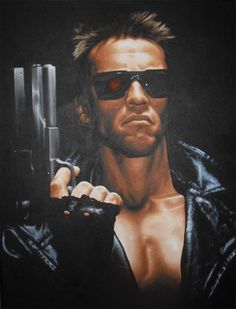 "Arnold Schwarzenegger as the Terminator. Hand painted in acrylic on high quality canvas. Size 24.4"" x 32.6"" For purchasing details, please visit www.jonmckenzieart.co.uk"