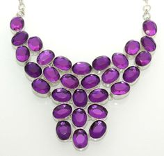 Awesome Statement Necklace With Purple Genuine Quartz. Starting at $1